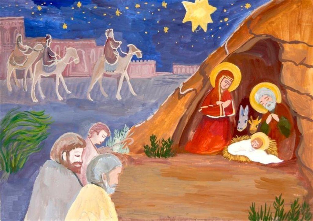 Рождественские рисунки своими руками с ангелом